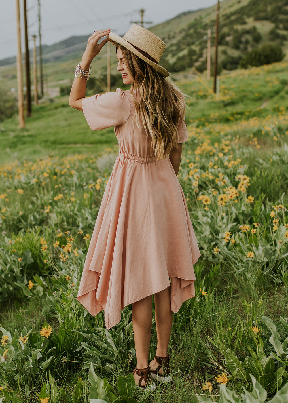 Handkerchief Hem Blush Dress | ROOLEE