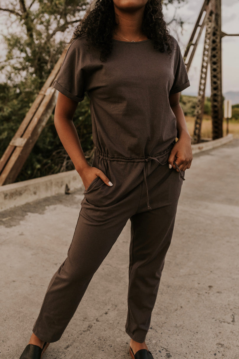 Charcoal Drawstring Jumpsuit | ROOLEE