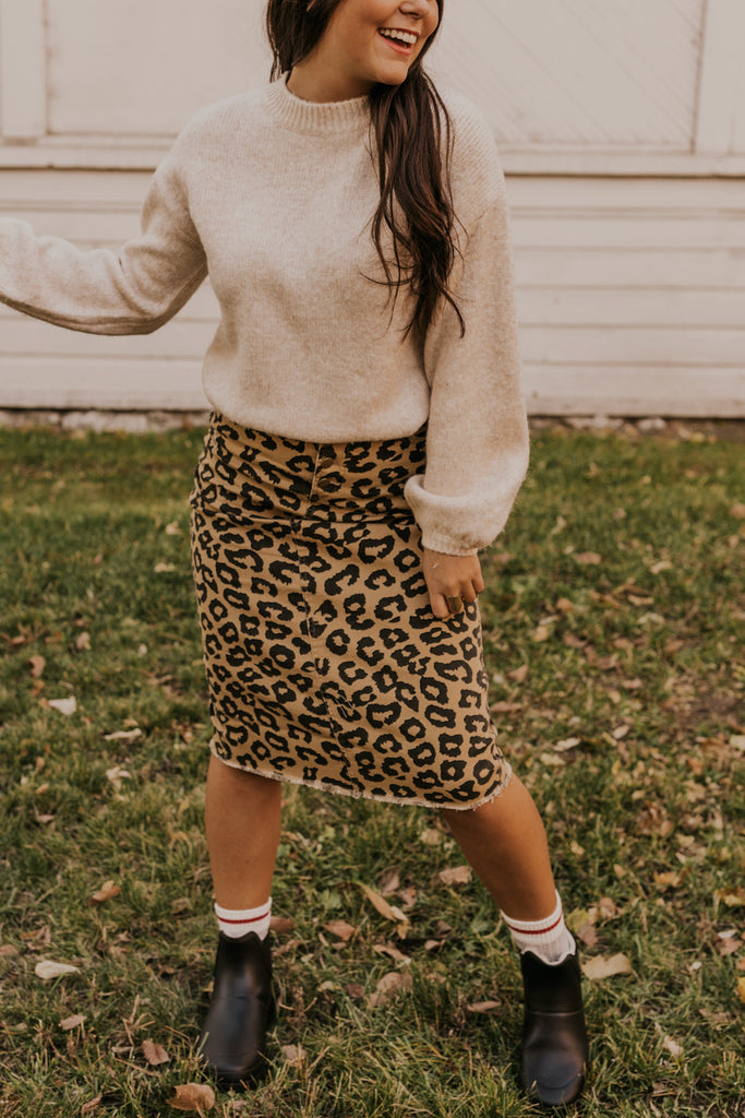 Leopard Printed Denim Skirt | ROOLEE