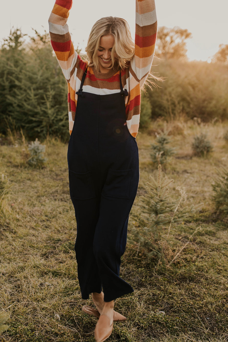 Navy Stretch Knit Overalls | ROOLEE