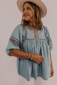 Modest Women's Clothing Embroidered Blouse | ROOLEE