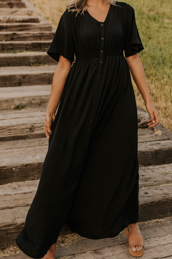 Black Button Front Maxi Dress | ROOLEE