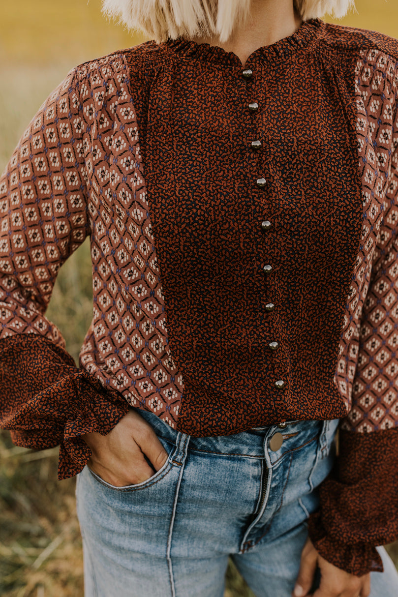 Printed Fall Blouse | ROOLEE