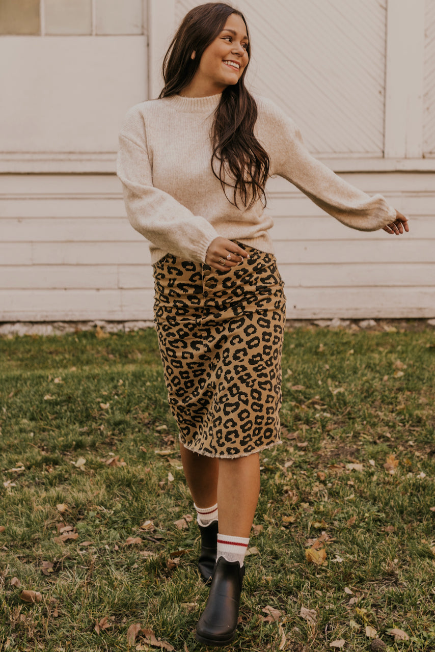 Leopard Denim Skirt | ROOLEE