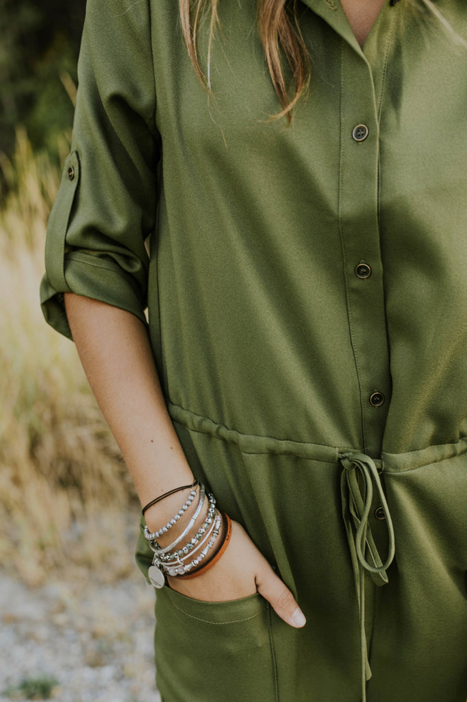 Button Up Jumpsuit w/Pockets in Olive | ROOLEE