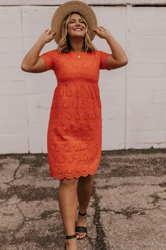 Orange Eyelet Dress | ROOLEE