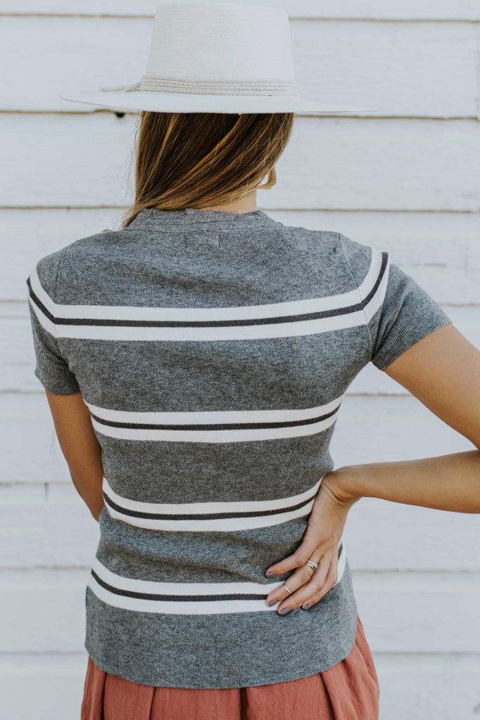 Grey Stripe Top | ROOLEE