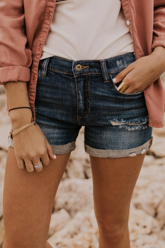 Rolled Hem Denim Shorts | ROOLEE
