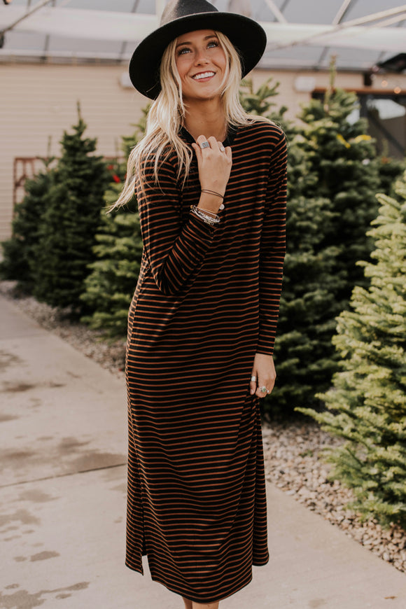 Brown and Black Striped Dress | ROOLEE
