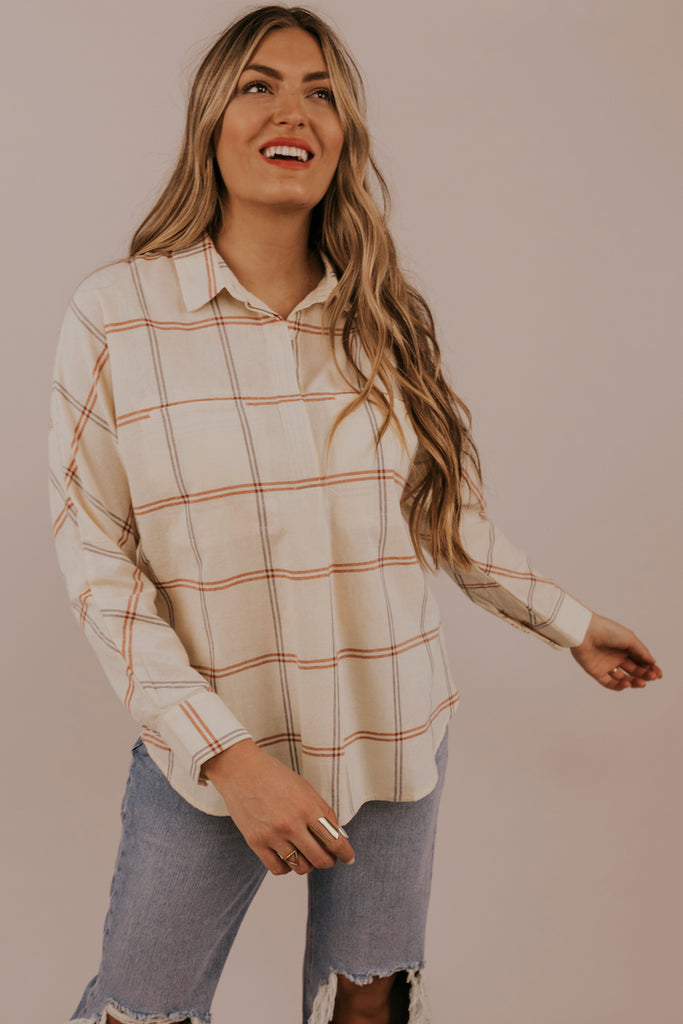 Red Plaid Cream Button Up Tops | ROOLEE