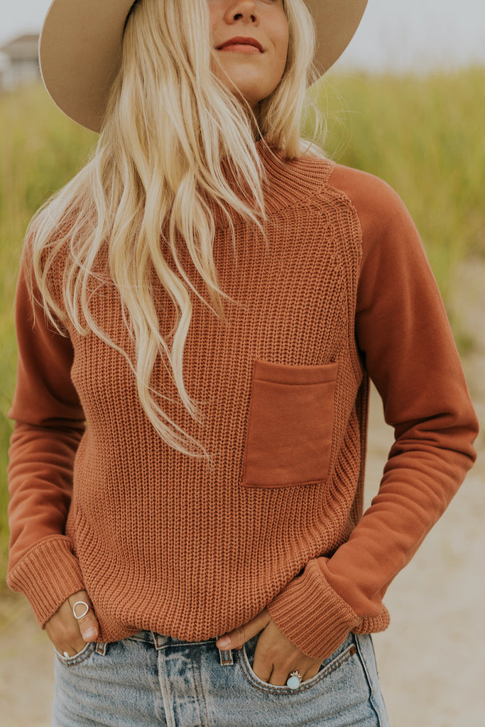 Cute pocket front textured sweater | ROOLEE