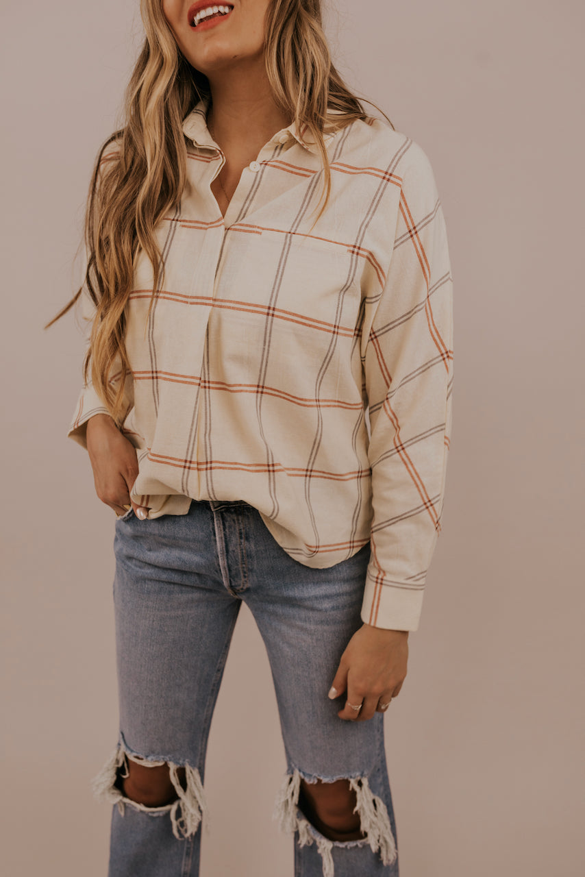 Neutral Trendy Button Down | ROOLEE