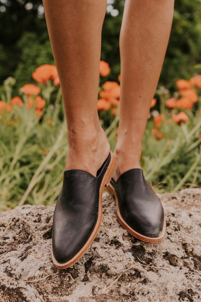 Black Leather Mules | ROOLEE