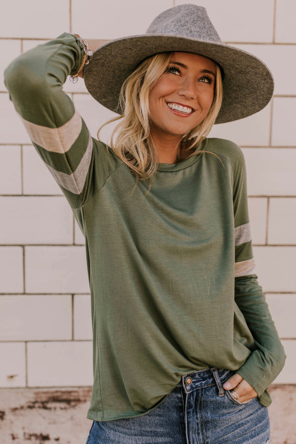 Green Long Sleeve With Arm Stripes | ROOLEE