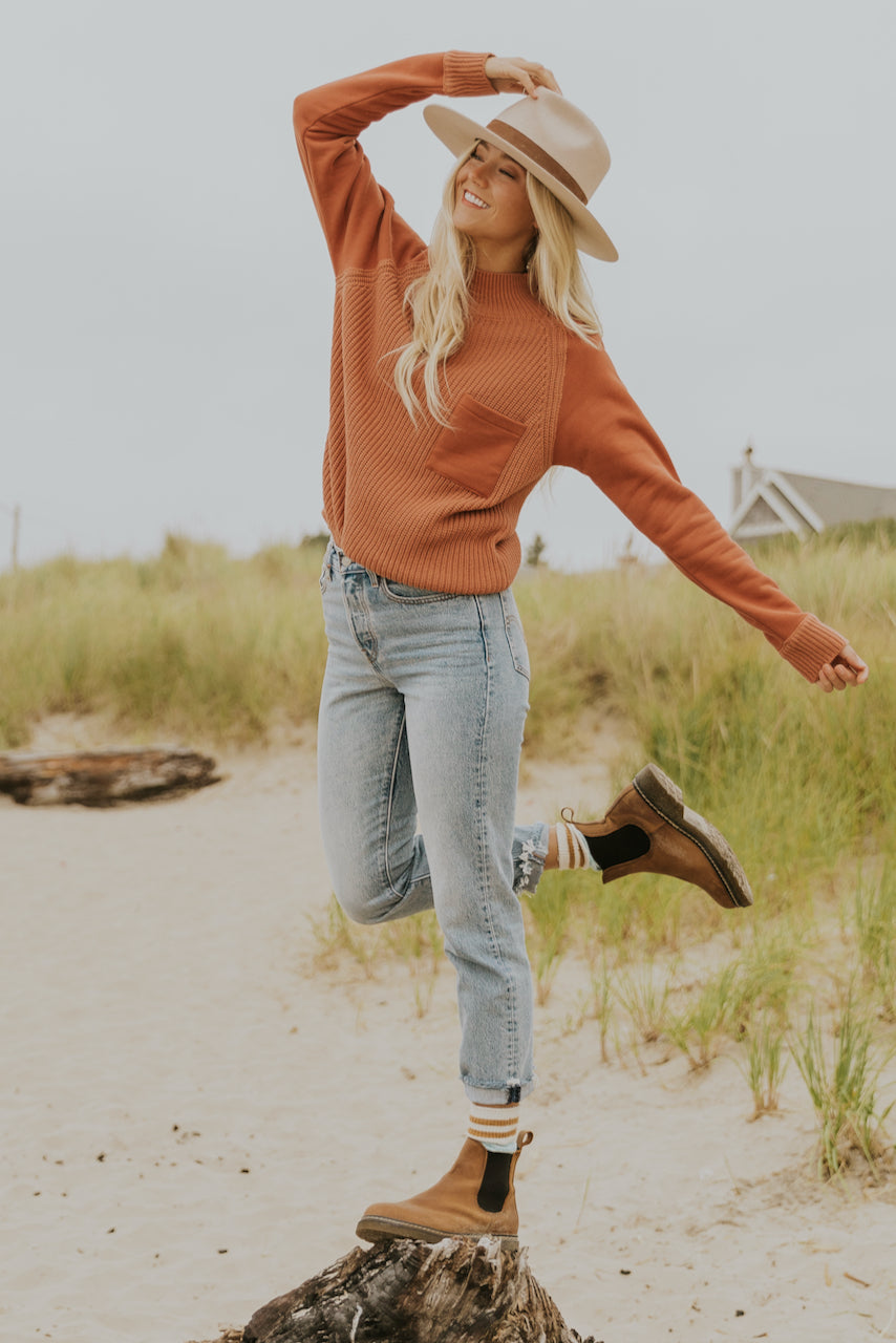 Soft coral pink fall sweater | ROOLEE