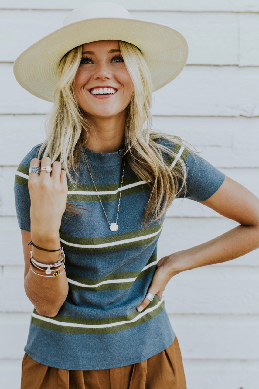Miriam Stripe Sweater Top in Blue | ROOLEE