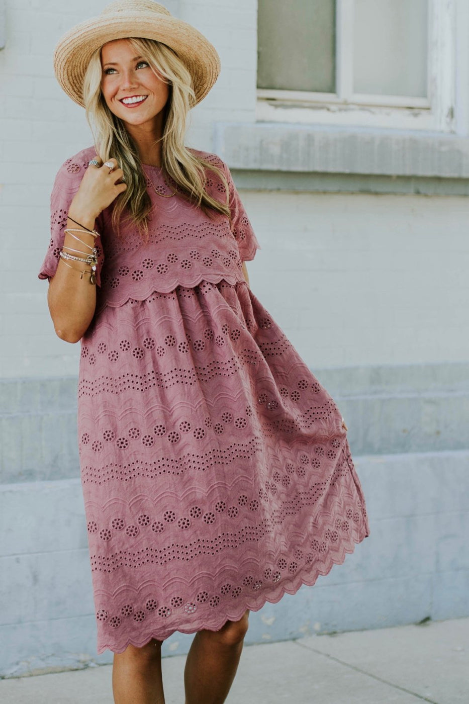 Sabrina Eyelet MOM Dress in Marsala | ROOLEE
