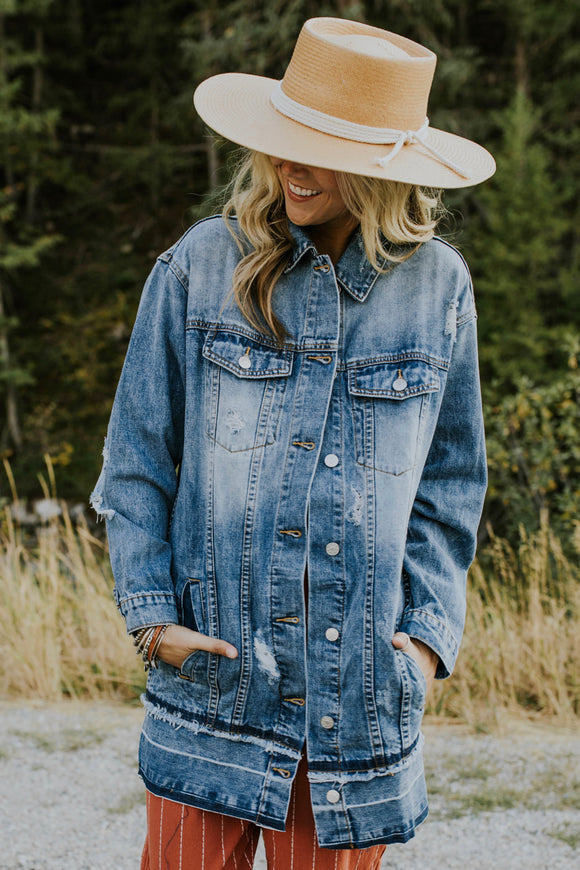 Willow Distressed Denim Jacket | ROOLEE