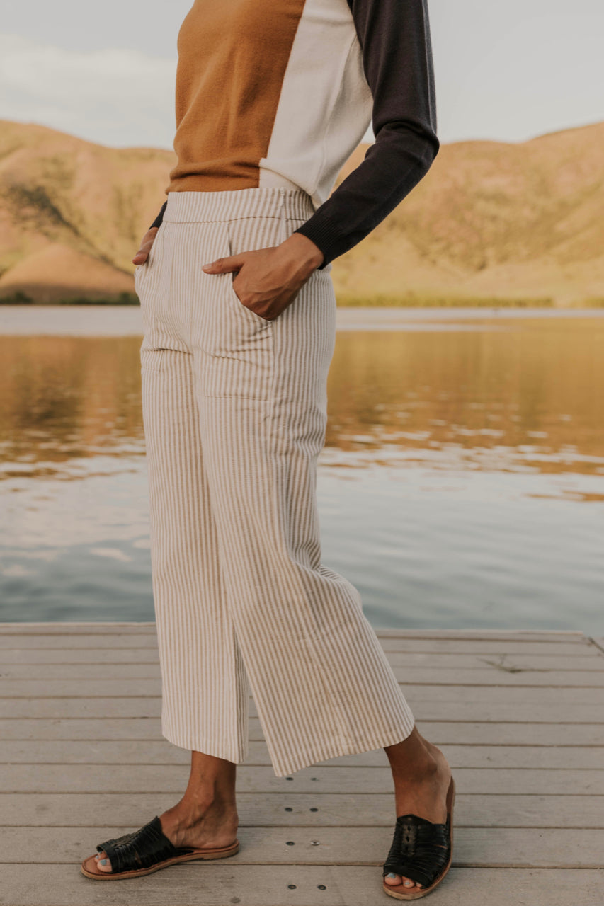 Wide Leg Stripe Trousers | ROOLEE