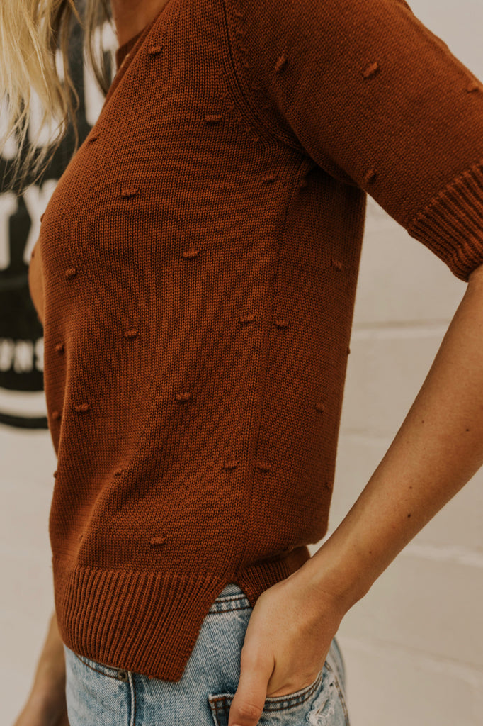 Rust Pom Pom Layering Top | ROOLEE