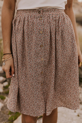 Floral Button Skirt | ROOLEE