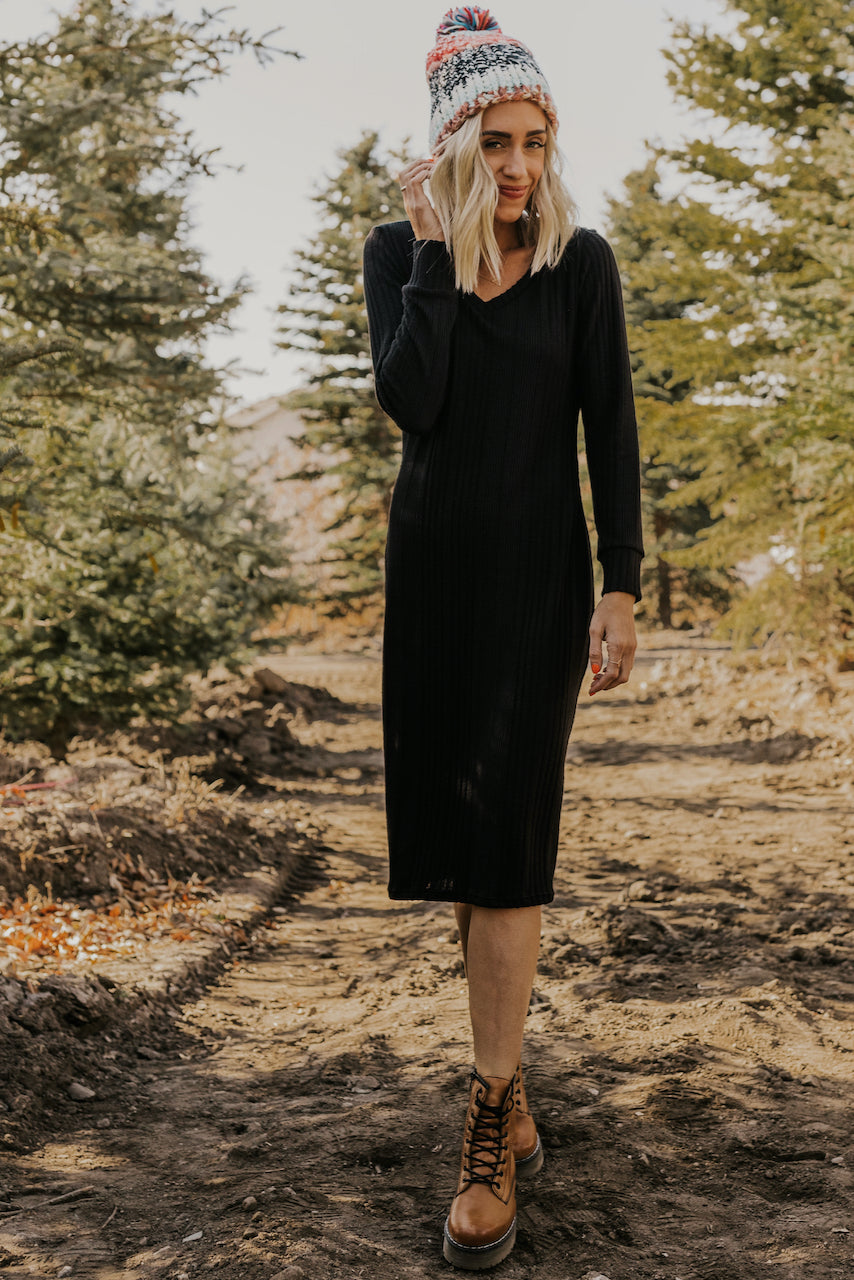 Black Textured Midi Dress | ROOLEE