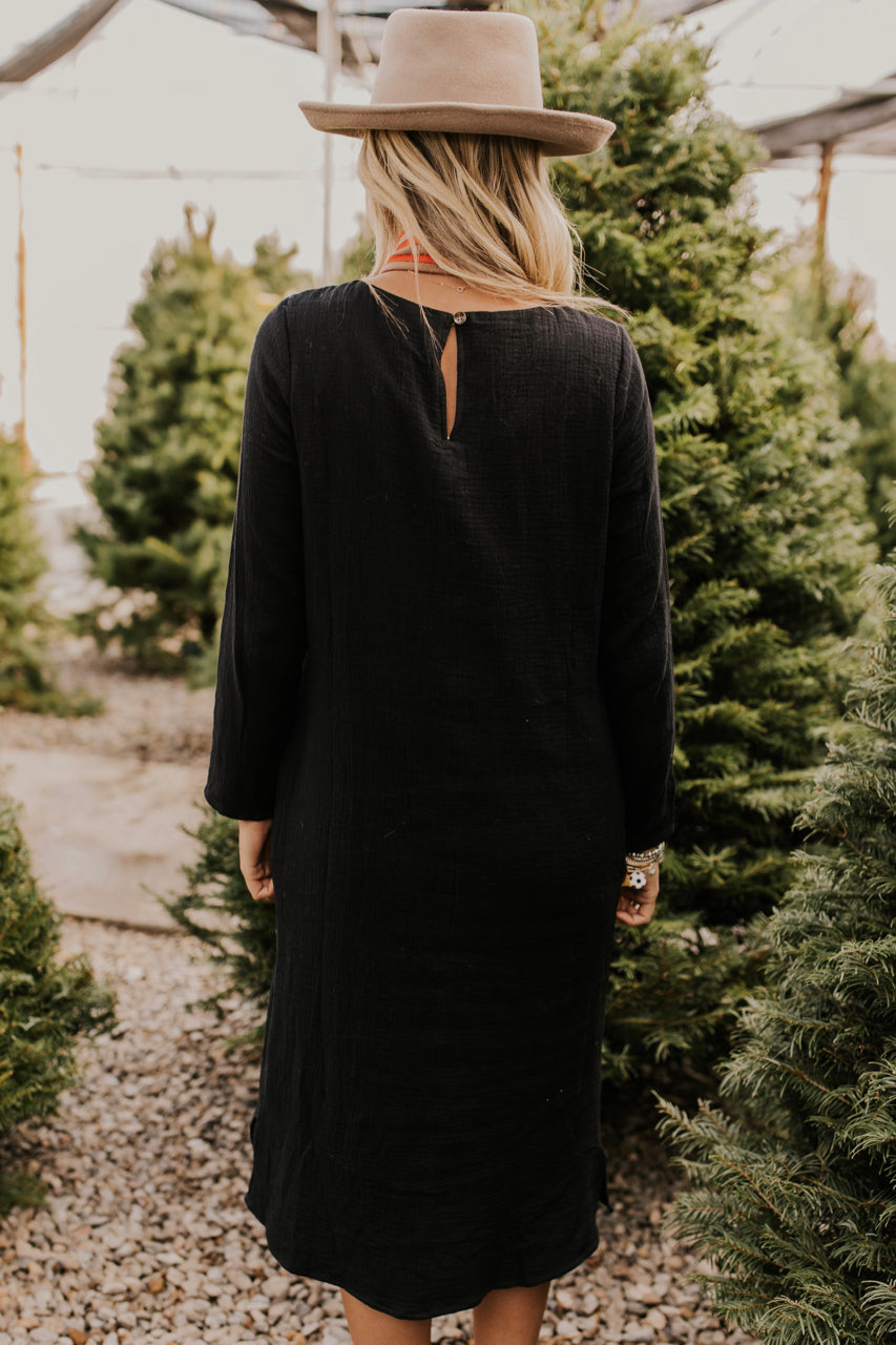 Long Sleeve Black Textured Midi | ROOLEE