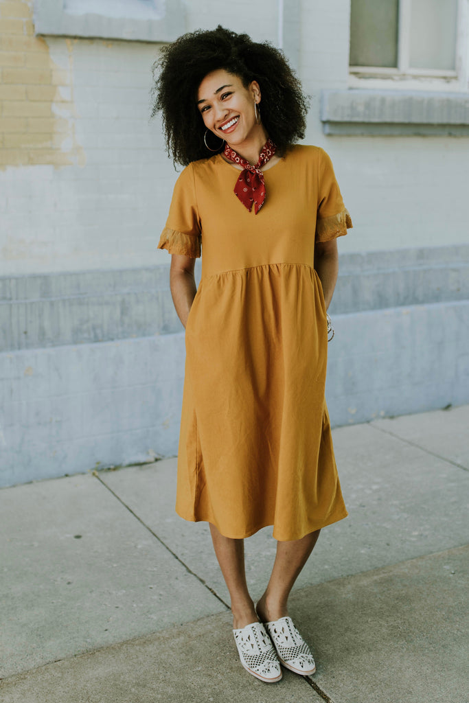 Ruffle Sleeve Pocket Dress | ROOLEE