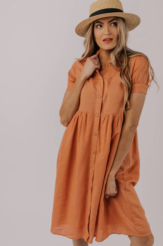 Modest Button Down Peach Dress | ROOLEE