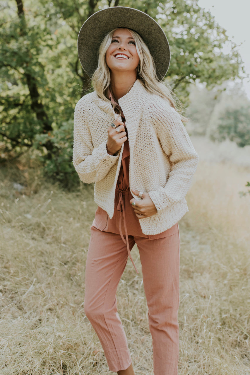Cardigan and Jumpsuit Outfit | ROOLEE