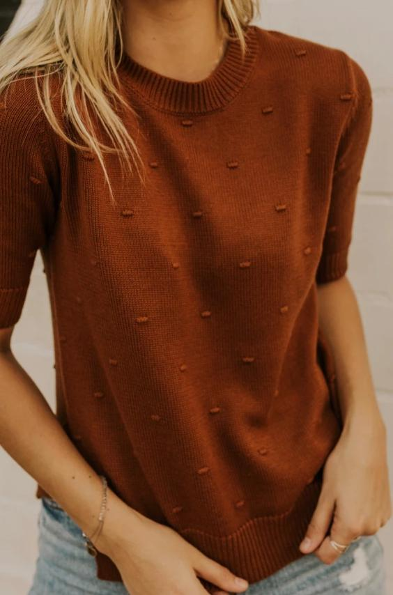 Crew Neck Rust Pom Pom Top | ROOLEE