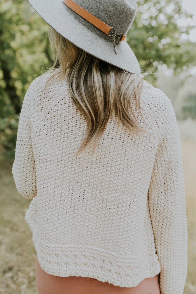 Slightly Cropped Cardigan in Cream | ROOLEE