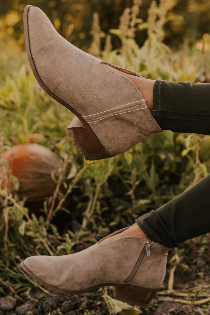 Zippered Taupe Ankle Booties | ROOLEE
