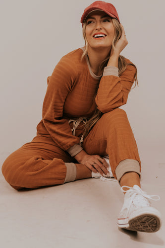 Orange Texture Jumpsuit | ROOLEE