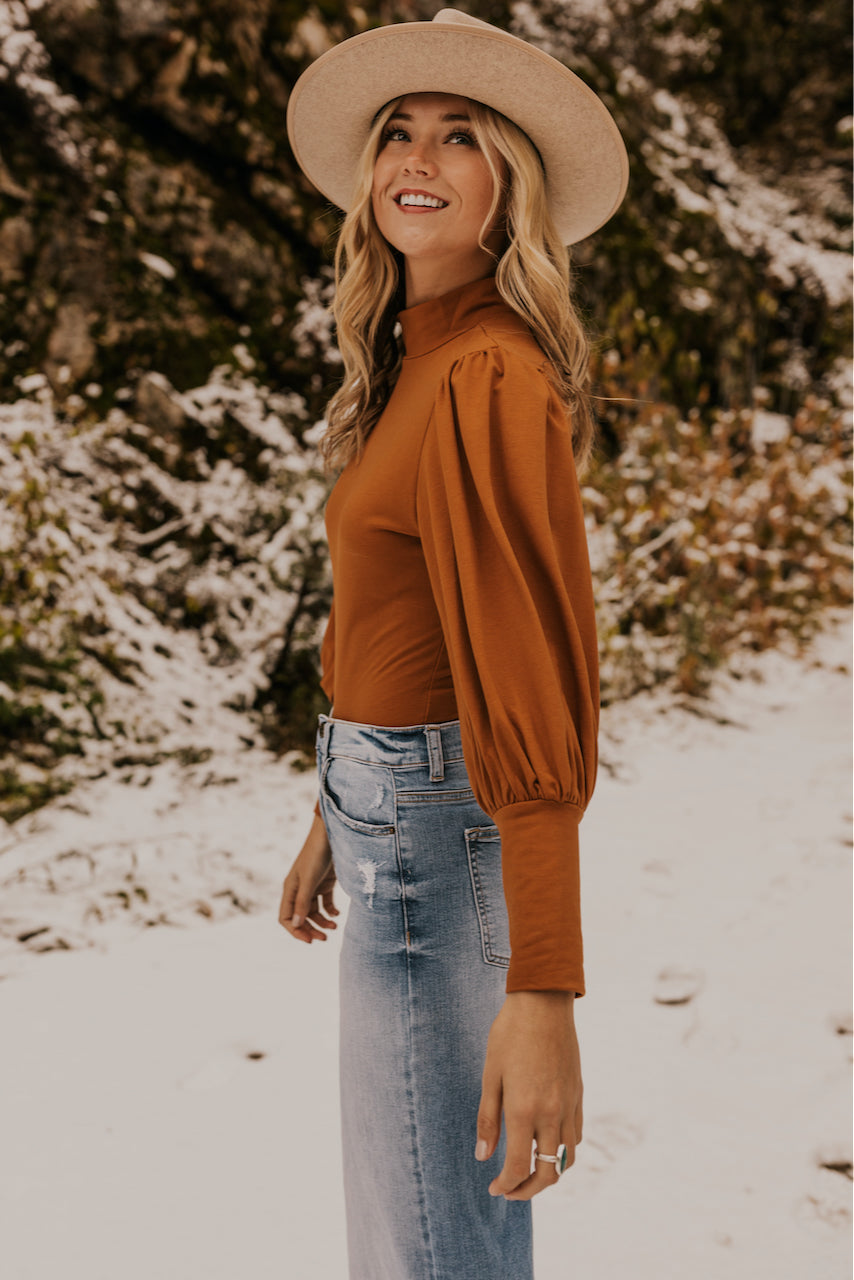Copper Turtleneck Winter Bodysuit | ROOLEE