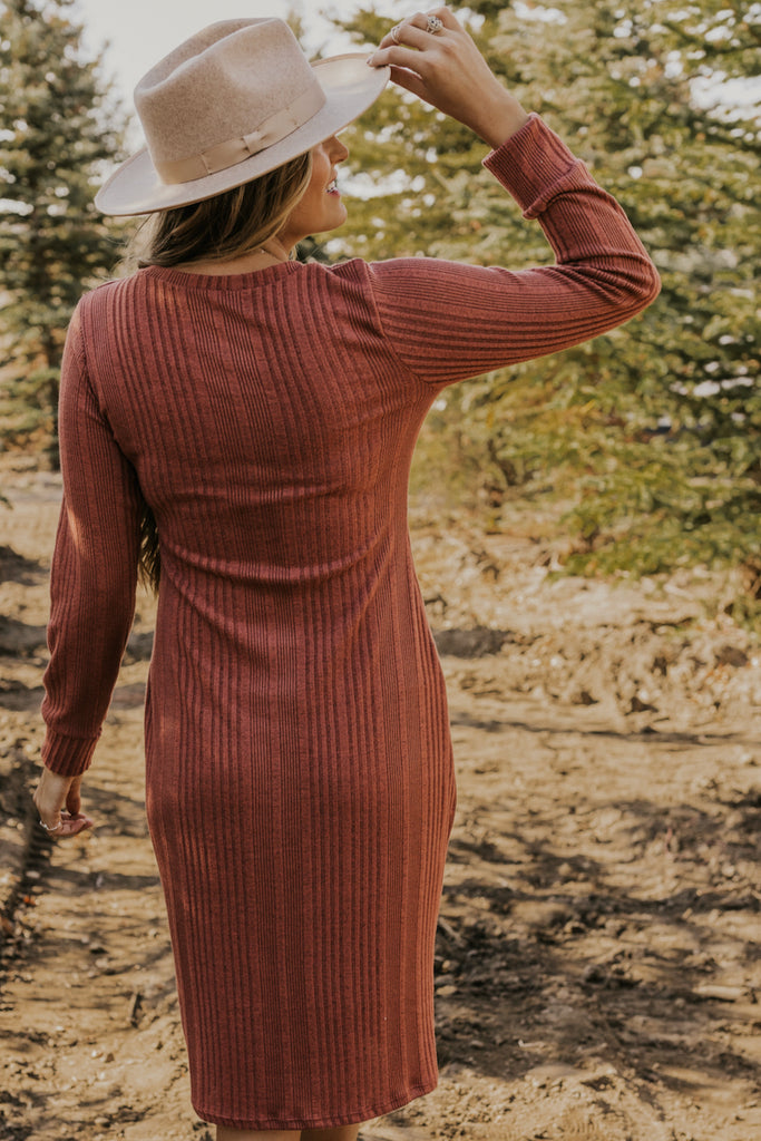 Long Sleeve Knit Dress in Mauve | ROOLEE