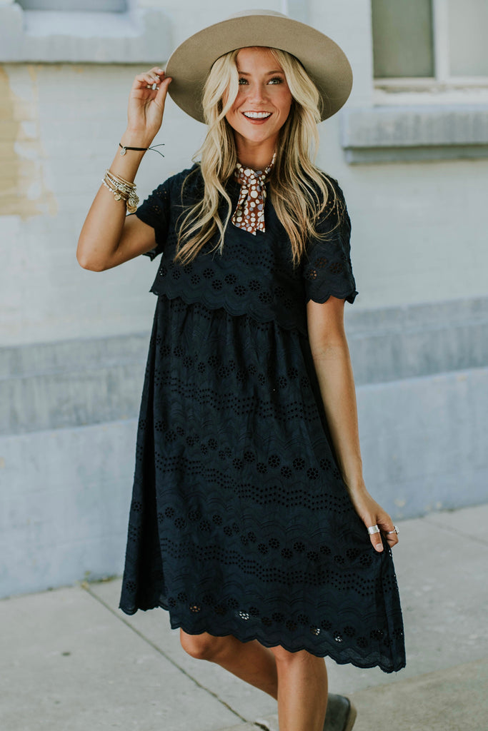 Sabrina Eyelet MOM Dress in Navy | ROOLEE