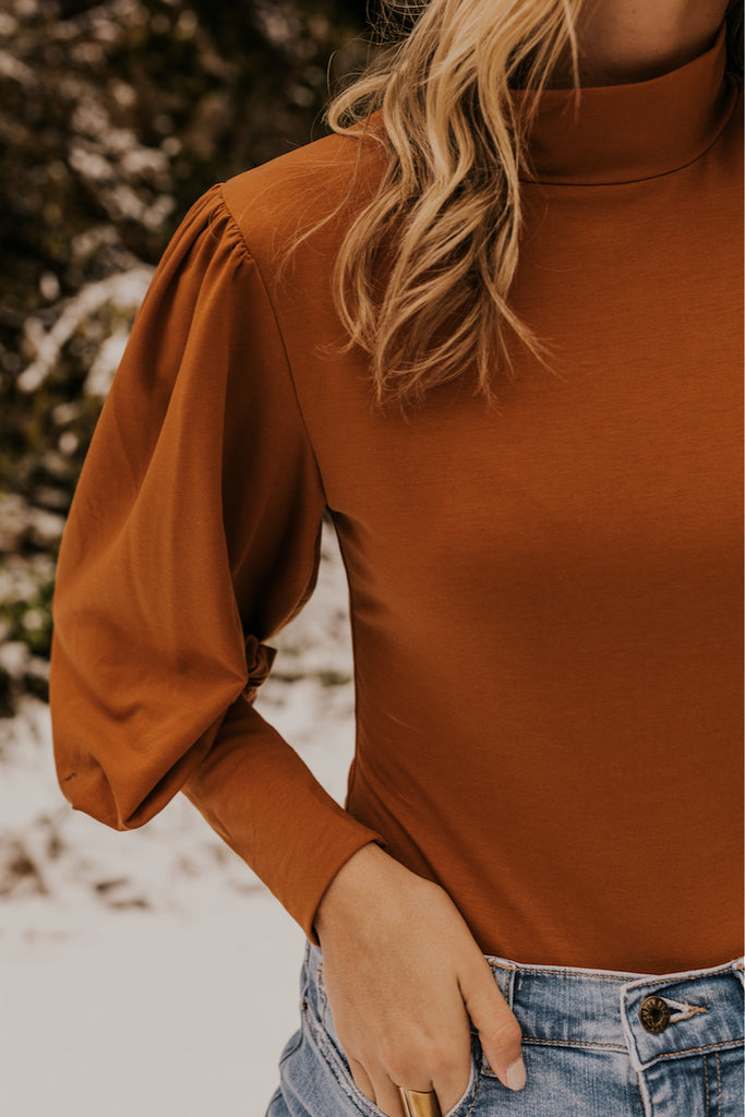 Mock Neck Layering Rust Bodysuit for Women | ROOLEE