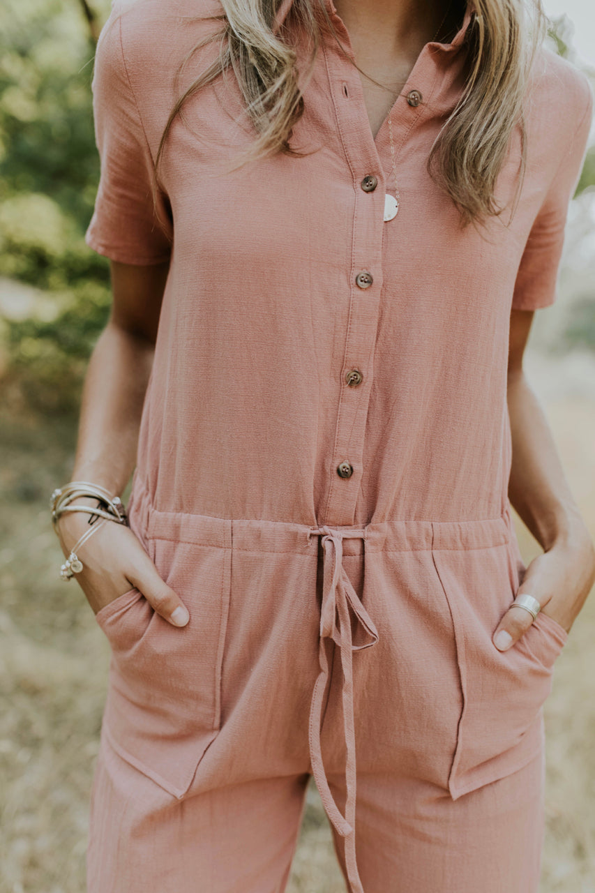 Button Jumpsuit with Tunnel Waist | ROOLEE