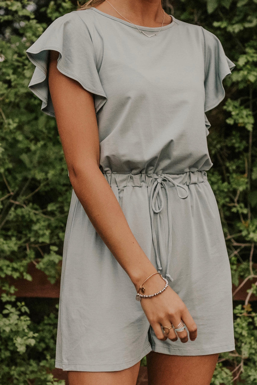 Light Blue Ruffle Romper | ROOLEE