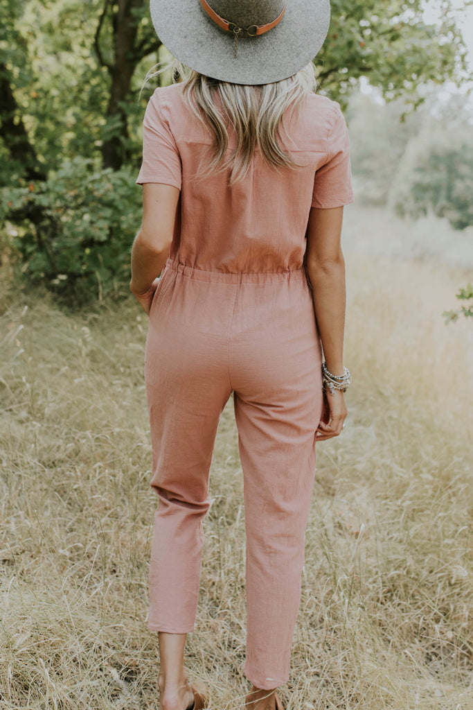 Short Sleeve Button Jumpsuit Outfit | ROOLEE