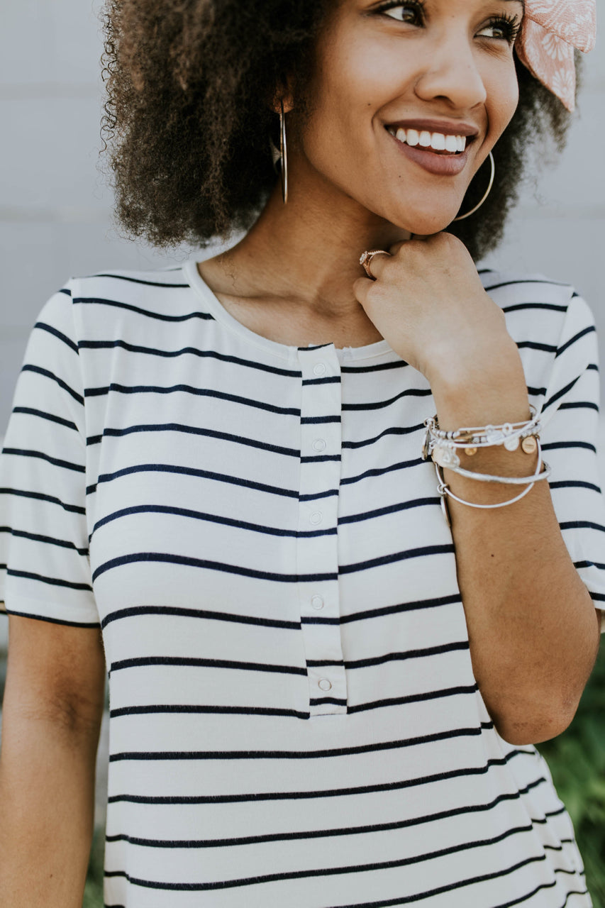 Nursing Friendly Stripe Dress | ROOLEE