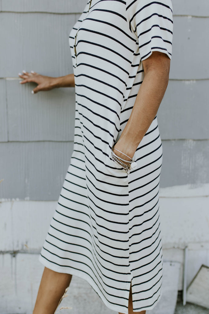 Navy Stripe Nursing Friendly Dress | ROOLEE