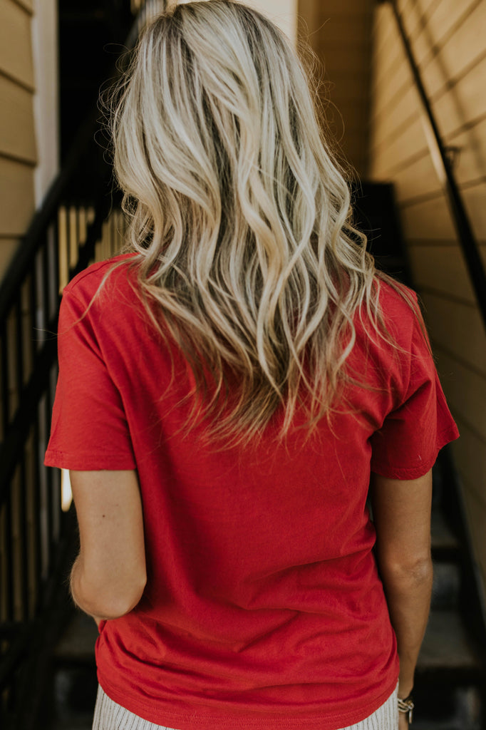 Short Sleeve Graphic Tee in Red | ROOLEE