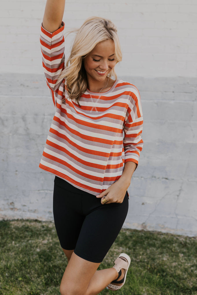 Red and Grey Stripe Pullover | ROOLEE