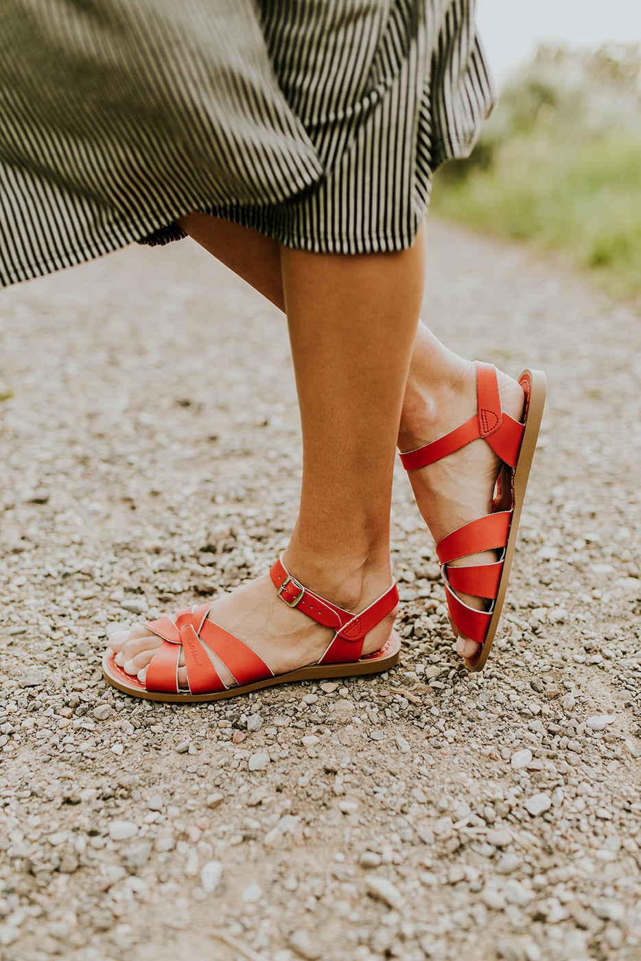 Red Leather Sandals for Summer | ROOLEE