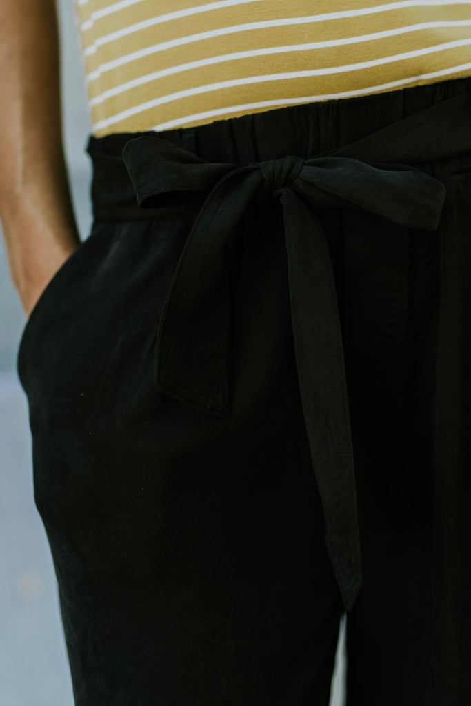Black Wide Leg Tie Bottoms With Pockets | ROOLEE