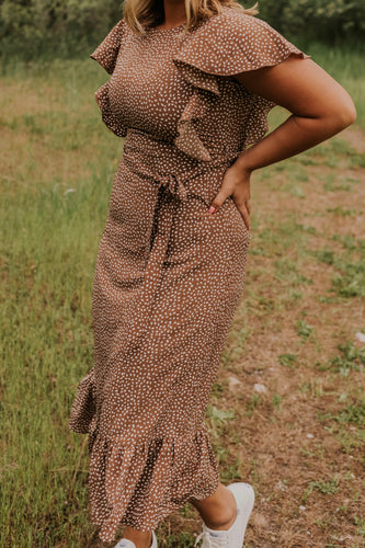 Brown Ruffle Maxi Dress | ROOLEE