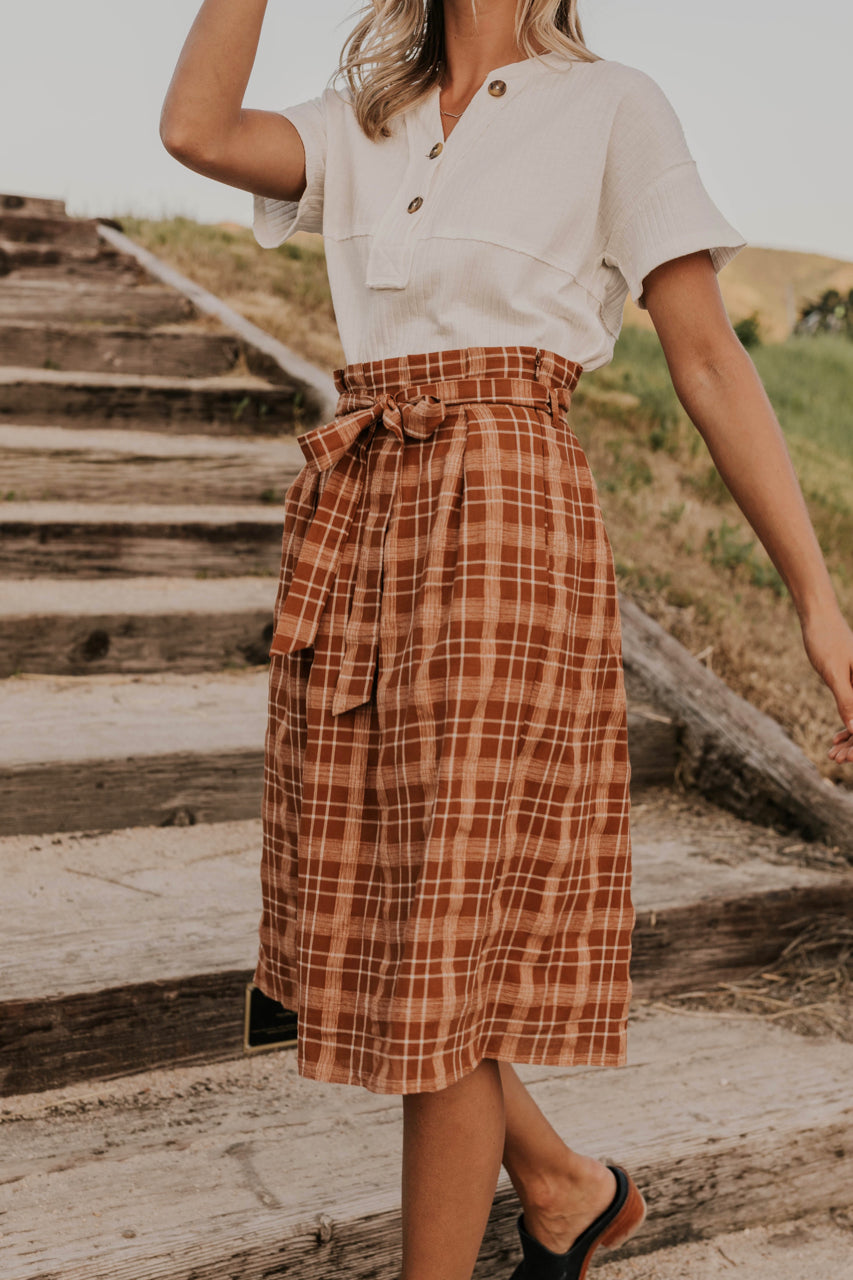 Fall Printed Midi Skirt | ROOLEE