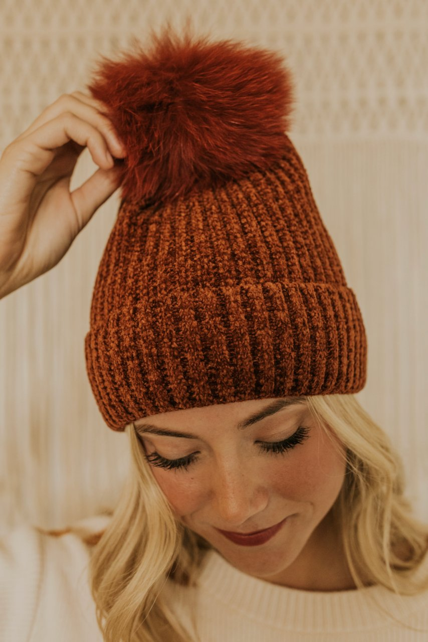 Red Rust Winter Pom Pom Hat | ROOLEE